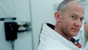 Astronauten Buzz Aldrin i närbild.