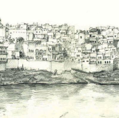 Teckning av vyy över Mosuls gamla stad vid Tigris strand av arkitekt Amer Alazawi