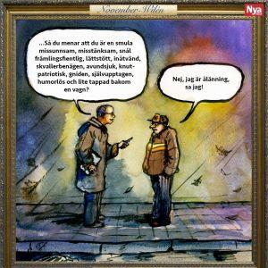 En satirteckning om ålänningar av bildkonstnären Jonas Wilén. Två män står mot varandra på gatan