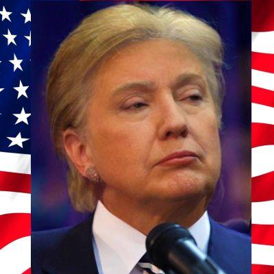En blandning av Hillary Clintons och Donald Trumps ansiktsdrag.