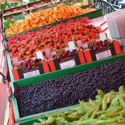 Ett torgstånd fotograferat från sidan. Man ser ärter, blåbär, körsbär, jordgubbar och kanttareller på rad.