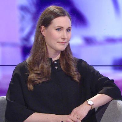 Sanna Marin, SDP, A-studion ohjelmassa 4. joulukuuta 2019.