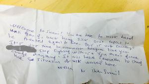 Rasistik lapp som anställd på Posti fått.