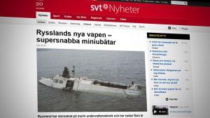 Skärmdump från SVT av rysk miniubåt.