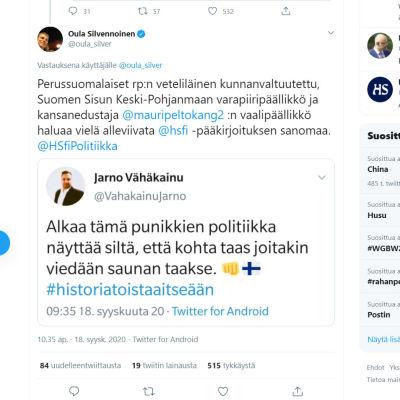 Kuvakaappaus Jarno Vähäkainun twiitistä.