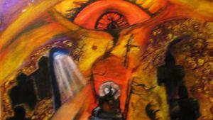 Surrealistinen maalaus, jossa paljon oranssia ja tumman sävyjä. Aiheena mm. iso silmä.