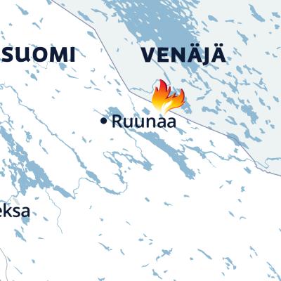 Kartalla näkyy Ruunaan metsäpalon paikka.
