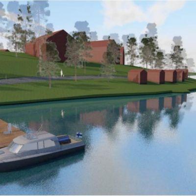 Ritad karta med båt vid brygga och hus i bakgrunden, så som man föreställer sig Furumalm i Bromarv i framtiden.