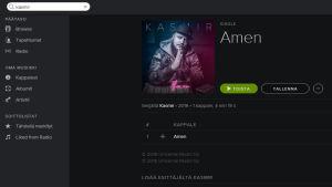 Ruutukaappaus Spotifystä, Kasmirin Amen-kappale.