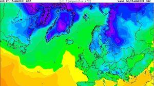 Väderkarta för fredagen den 15 januari 2021.