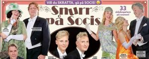 """Innehållsrik reklamaffish för """"Snurr på Socis"""""""