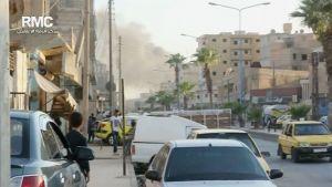 Stillbild från ett videoklipp från Raqqaprovinsen i Syrien.