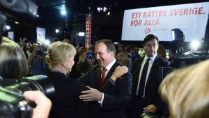 Socialdemokraternas ordförande Stefan Löfven jublade under valkvällen den 14 september 2014.