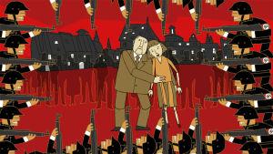 animaatio perhe natsisotilaiden uhkaamana