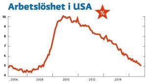 Arbetslösheten i USA 2006 - 2015