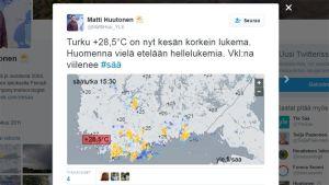 Matti Huutonen berättar om vädret på twitter.
