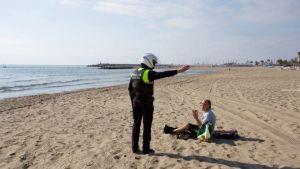 Stranden i Fuengirola, Spanien under utegångsförbudet mars 2020.
