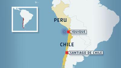 En karta som visar var jordskalvet skedde.