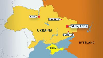 Karta över städer i Ukraina.