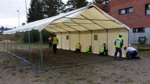 Tält uppförs för asylsökande i Joutseno