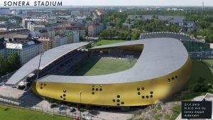 Havainnekuva Sonera stadionin laajennuksesta