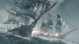 Två skepp i ett sjöslag, från spelet Assassins Creed - Black Flag