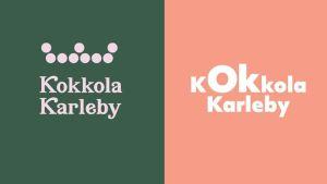 En grön ruta och en persikofärgad ruta bredvid varandra. I den gröna står detKokkola Karleby med en krona ovan på. På den persikofärgade står det bara Kokkola Karleby.
