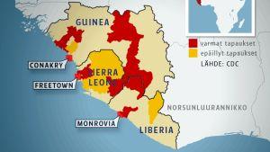 Spridningen av ebolaviruset.
