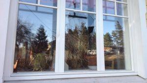 Sönderslaget fönster i Näse i Borgå