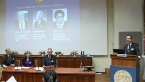 Nobelpriset i medicin kungörs i Stockholm 2015.