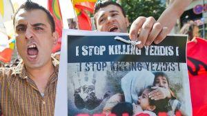 Jezidier demonstrerar mot Isis dödande av den irakiska minoriteten