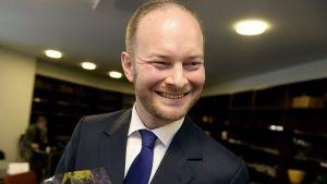 Den sannfinländska riksdagsgruppens ordförande Sampo Terho.