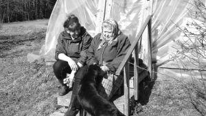 nainen, mummo ja koira rappusilla