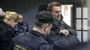 Den ryska oppositionsledaren Aleksej Navalnyj anlände till domstolen i Moskva den 30 december 2014.