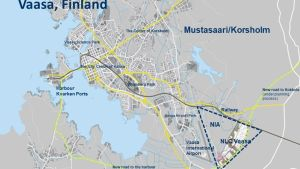 Karta över Vasa och Korsholm och området för Giga vaasa.