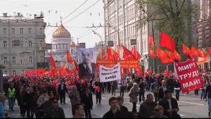 Kommunister marscherar i Moskva