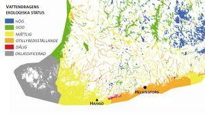En ny bedömning av de finländska vattendragens ekologiska status.