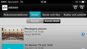 Yle Arenans direktsändningar på mobilen.