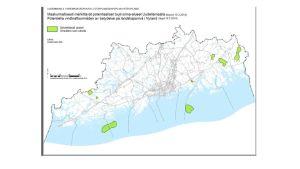 Potentiella vindkraftsområden av betydelse på landskapsnivå i Nyland