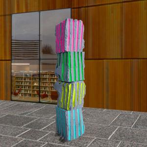 En skiss över en skulptur som består av fyra olika block som är radade på varandra. Blocken har olika färgers ränder.