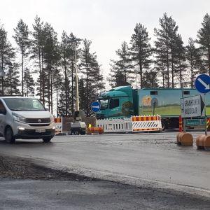 Nya korsningen vid Granholmen i Jakobstad.