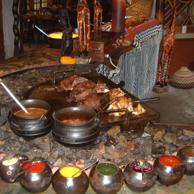 Traditional cuisine at the restaurant, Lesedi Traditional Village, South Africa
