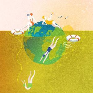 Grafiikka, uimareita maapallo-saarella.
