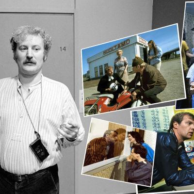 Ohjaaja Neil Hardwick seisoo käytävällä alimmassa mustavalkoisessa kuvassa. Päällä on värikäs kuvakollaasi hänen ohjaamistaan ohjelmista.