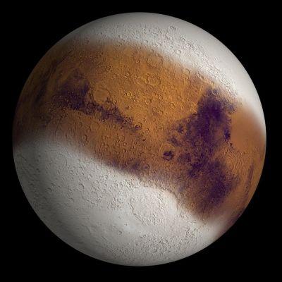 Visualisointi miltä Mars olisi näyttänyt jääkautena.