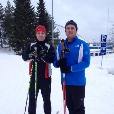 Jaakko Musakka ja Matt Steidlen Lahden urheilukeskuksessa.