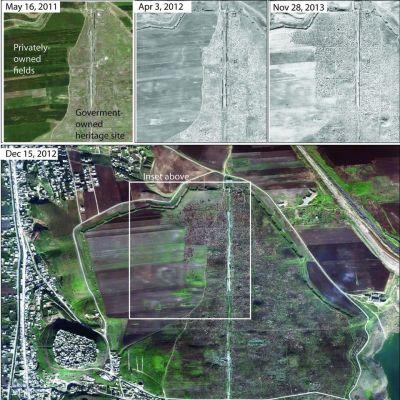 Kuusi satelliissikuvaa Apameassa tapahtuneista muutoksista.