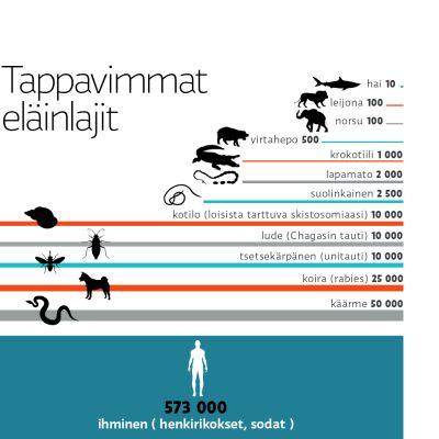 Tappavimmat eläinlajit -grafiikka.