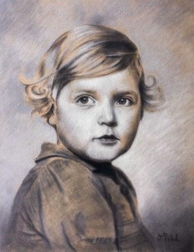 Teckning av Ulla Tillander-Godenhielm som barn.