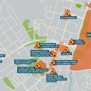 en grafisk karta över byggarbetsplatser i nickby centrum